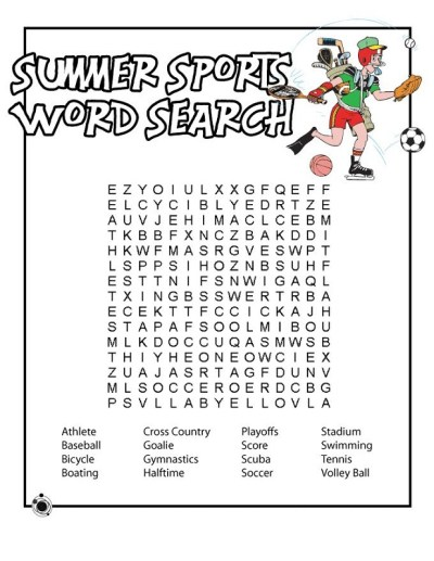 Printable Sports Word Search for Kids | Activity Shelter