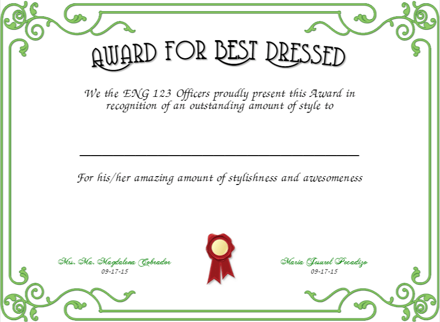 Best dressed award certificate templates images certificate 100 quot certificate border sample certificate creator yadclub Image collections