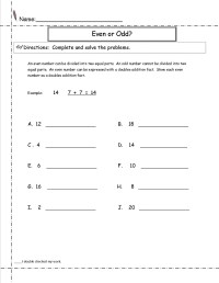 Even and Odd Number Worksheets