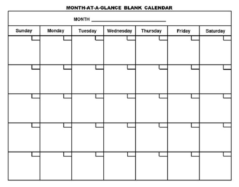 Printable Blank Monthly Calendars Activity Shelter