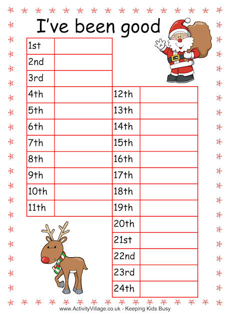 Advent Reward Chart - Kids Behavior Chart Template