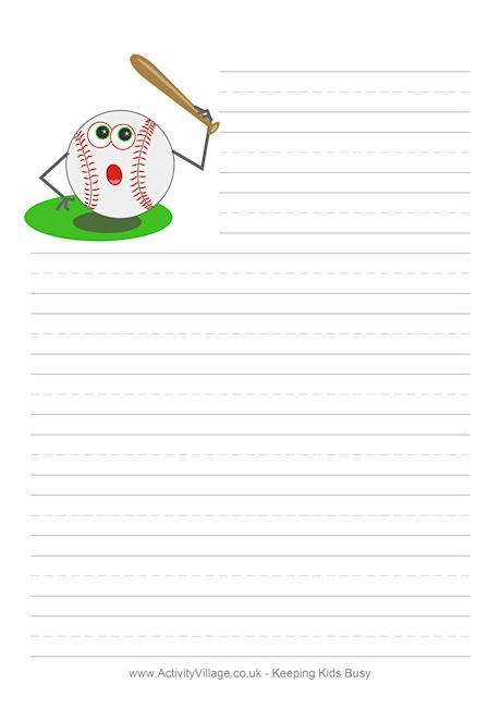 baseball writing paper - lined pages for writing