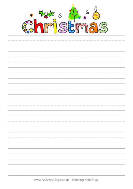 Christmas Design Writing Paper - lined writing paper