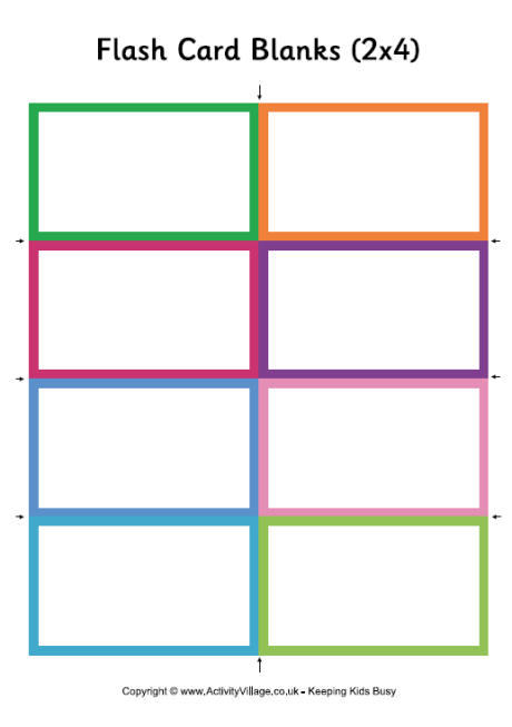 Blank Flash Cards - Small - flash card template