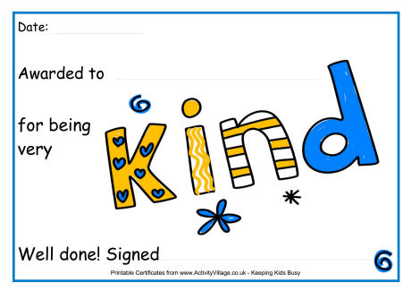 Special Printable Certificates for Kids