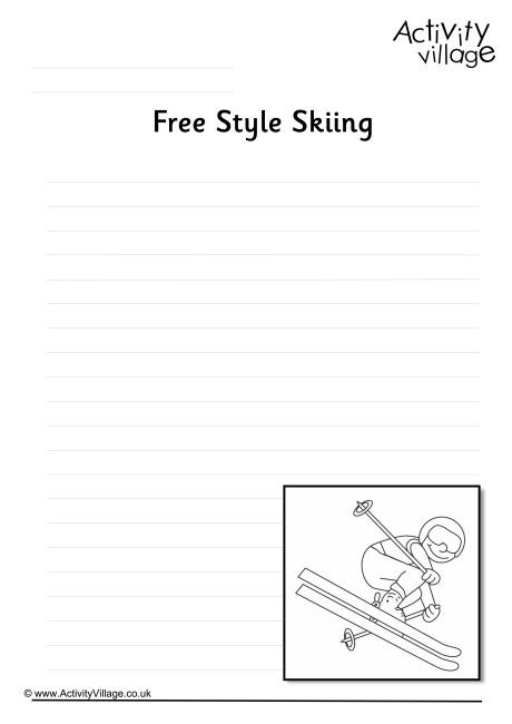 free writing page style skiing writing page handwriting paper