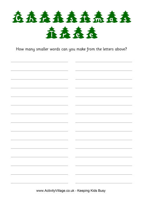 Christmas Tree How Many Words Puzzle - christmas tree words