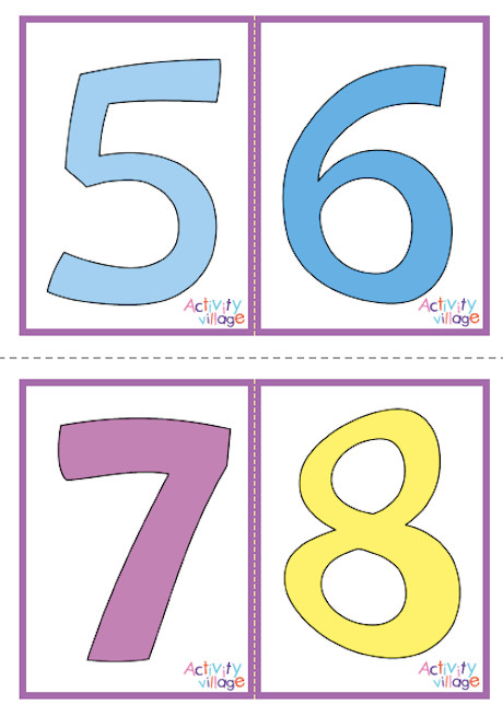Number Flash Cards - 1-20 - Set 1 - Patterned