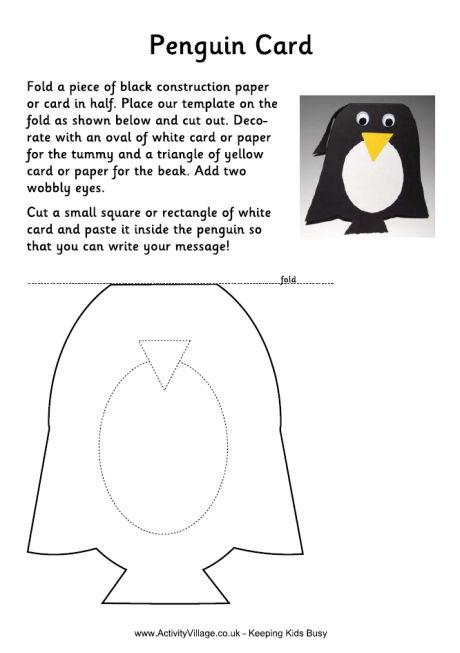 Penguin Cards For Kids To Make - penguin template