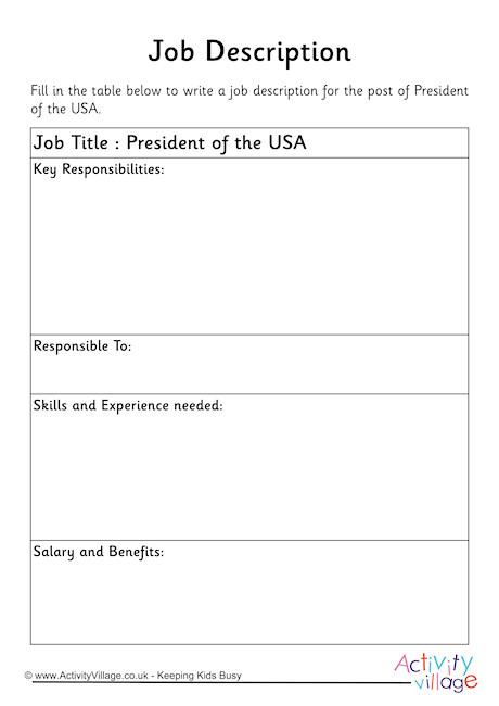 President of the USA Job Description Worksheet - president job description
