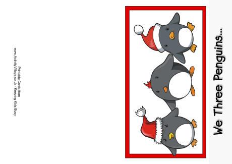 We Three Penguins Christmas Card - christmas card printable
