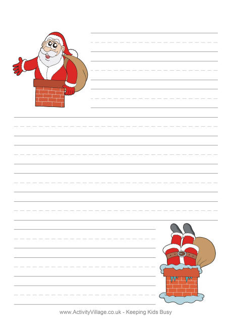 Santa in Chimney Writing Paper - printable writing paper with border