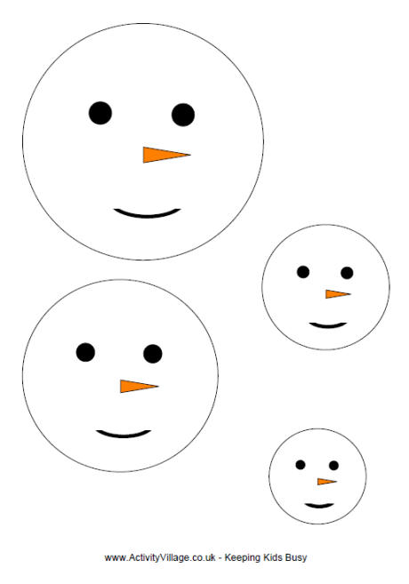 Snowman Face Template in 4 Sizes