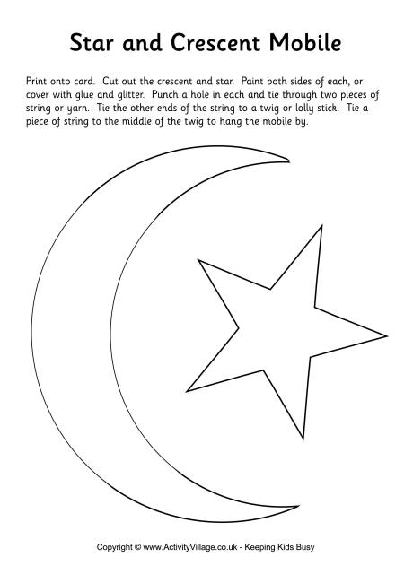 Star and Crescent Moon Mobile - star template