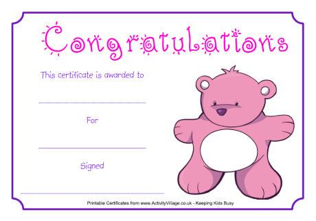 Teddy Congratulations Certificate
