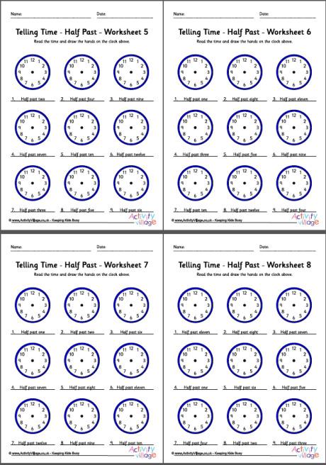 Telling Time Worksheets - Half Past - Pack 2 - time worksheets