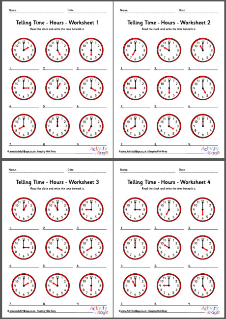 Telling Time Worksheets - Hours - Pack 1