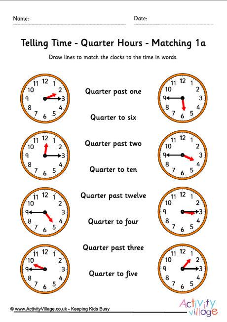Telling Time Worksheets - Quarter Hours - Pack 5