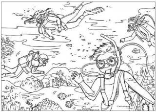 scuba diver coloring page costumepartyrun