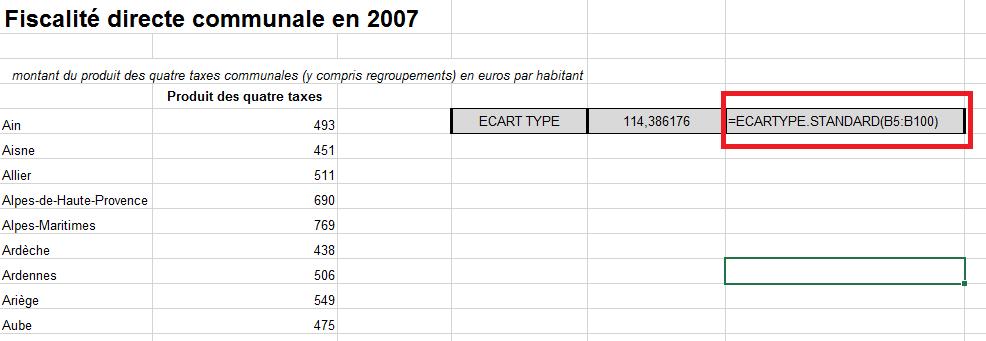 comment calculer un ecart type et un cv
