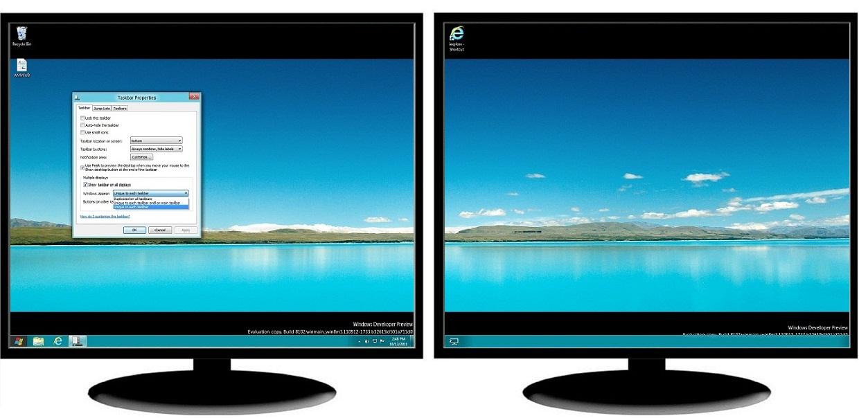 Windows 8 Better Alternative to a Native Multi-Monitor Taskbar - multi screen display