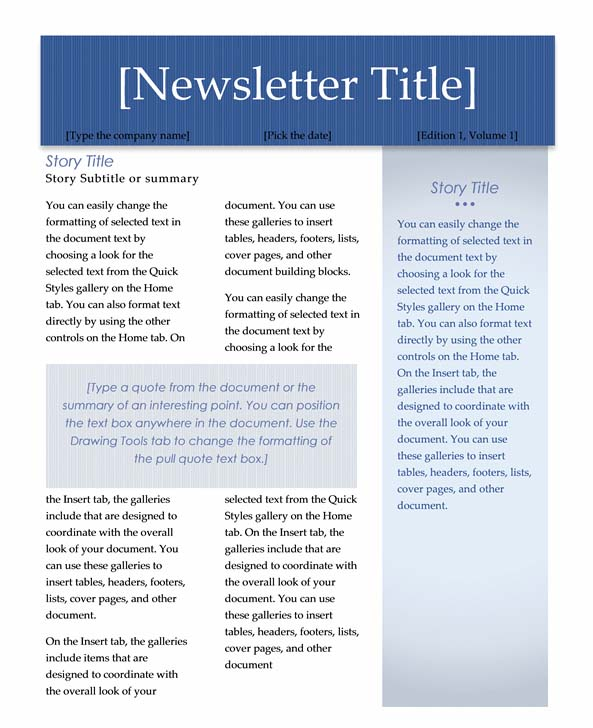 Newsletter Template In Word 2010 | Coverletter for Jobs