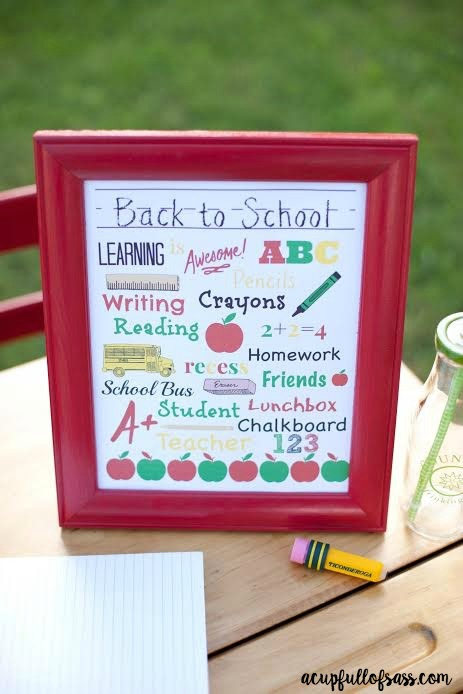Subway Art Back to School Printable - A Cup Full of Sass