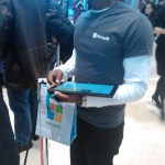 There were people walking around doing various things. The lucky ones got to carry around Surface tablets to show off and to let us play with while in line.