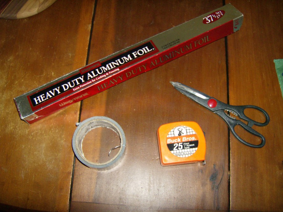 Heavy Duty Aluminum Foil, Duck Tape, Measuring Tape, Scissors