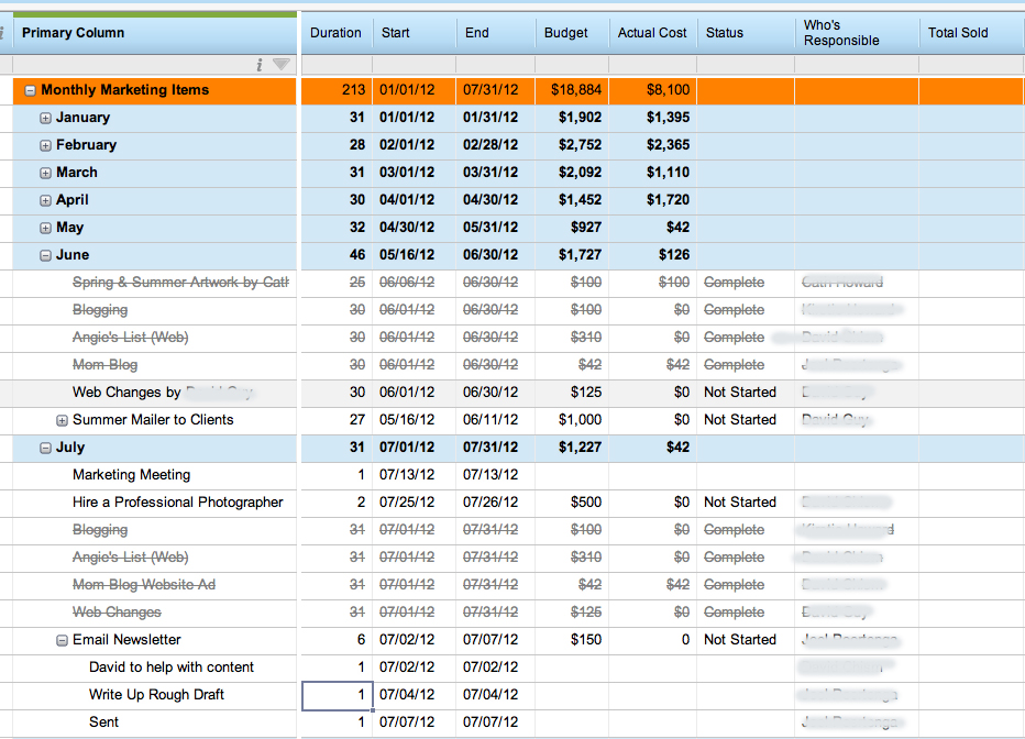 Project Management Software for Contractors A David Creation - sample marketing schedule