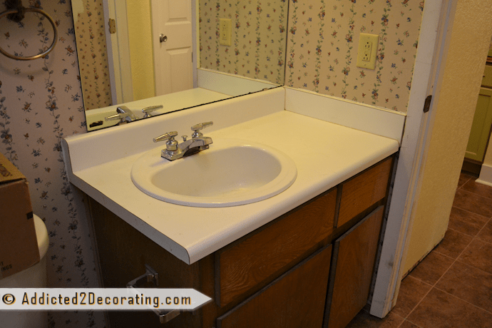 Bathroom Makeover Day 2: My $35 Diy Wood Countertop