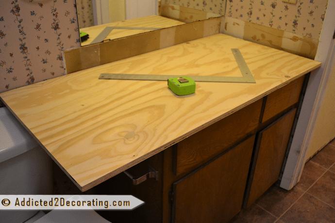 Bathroom Makeover Day 2: My $35 Diy Wood Countertop