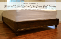 DIY Stained Wood Raised Platform Bed Frame  Finished!!