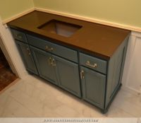 Teal Furniture-Style Vanity Made From Stock Cabinets ...