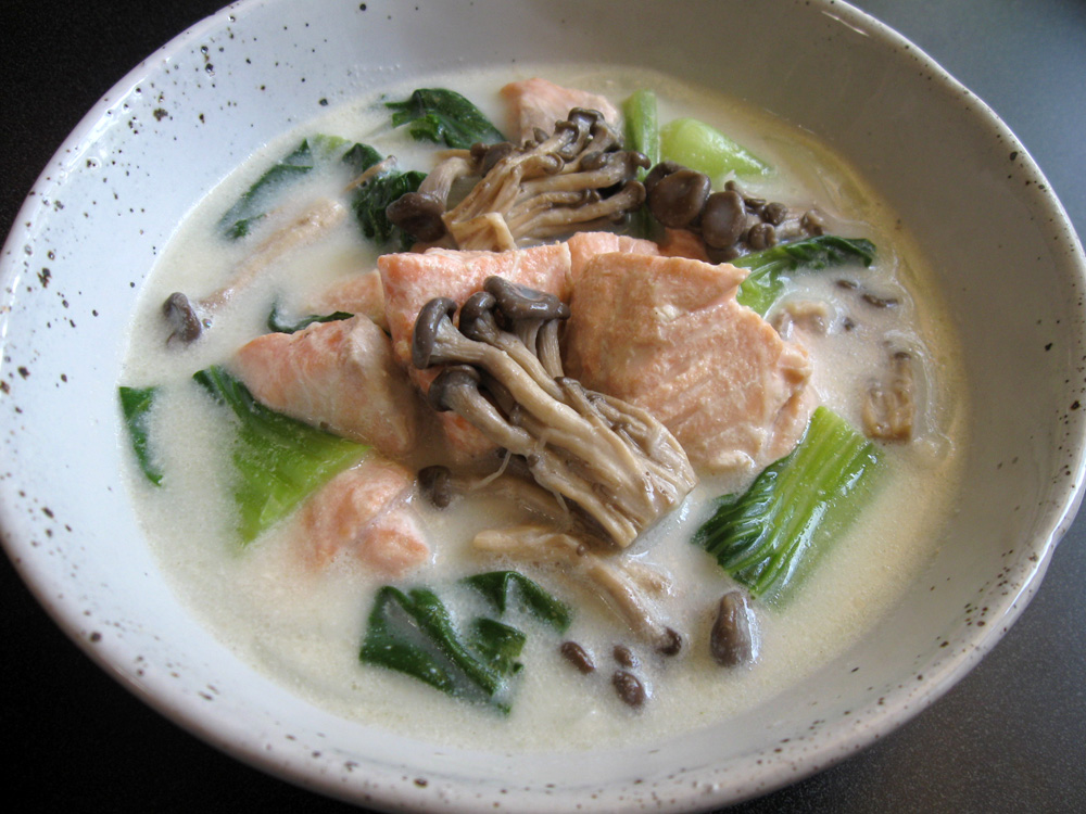 Healthy Salmon Bok Choy Creamy Soup Addicted To Sushi