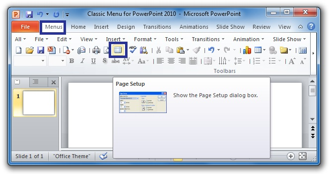 Where is Page Setup in Microsoft PowerPoint 2007, 2010, 2013 and 2016