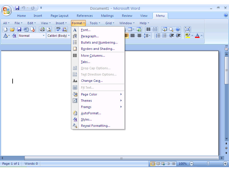 Screen Shot of Classic Menu for Office 2007