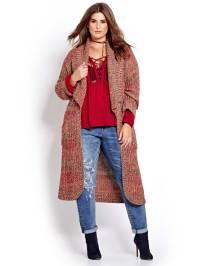 L&L Long Sleeve Patterned Shawl Cardigan | Addition Elle