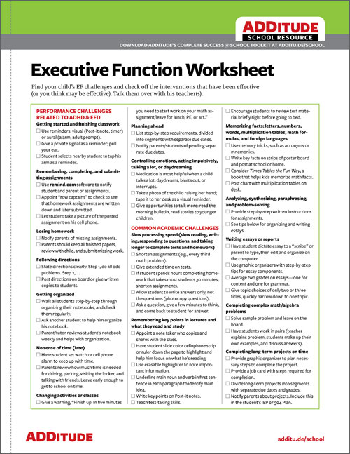 Common Executive Function Challenges ADHD Back-to-School Checklist