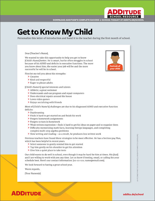 New Teacher Letter How to Introduce Your Child with ADHD - letter of introduction teacher