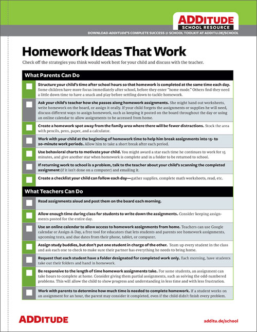 Homework Strategies for Students with ADHD A Free Handout