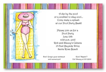 Lady on Pool Float Personalized Party Invitations by Address to Impress