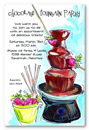Chocolate Fountain and Strawberries Personalized Party Invitations