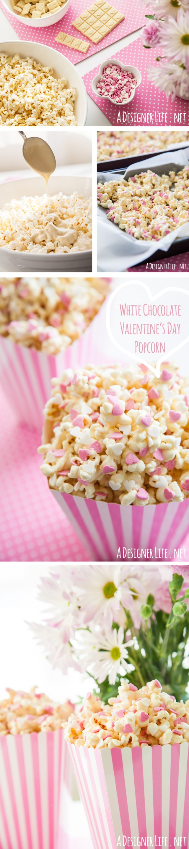 White Chocolate Valentine's Day Popcorn with Heart Sprinkles! Last minute Valentines Day recipe ideas