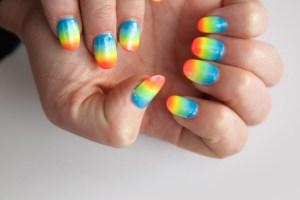 Super fun rainbow ombre nails