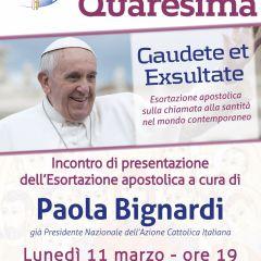 """Incontro con Paola Bignardi su """"Gaudete et Exsultate"""": la santità della porta accanto"""