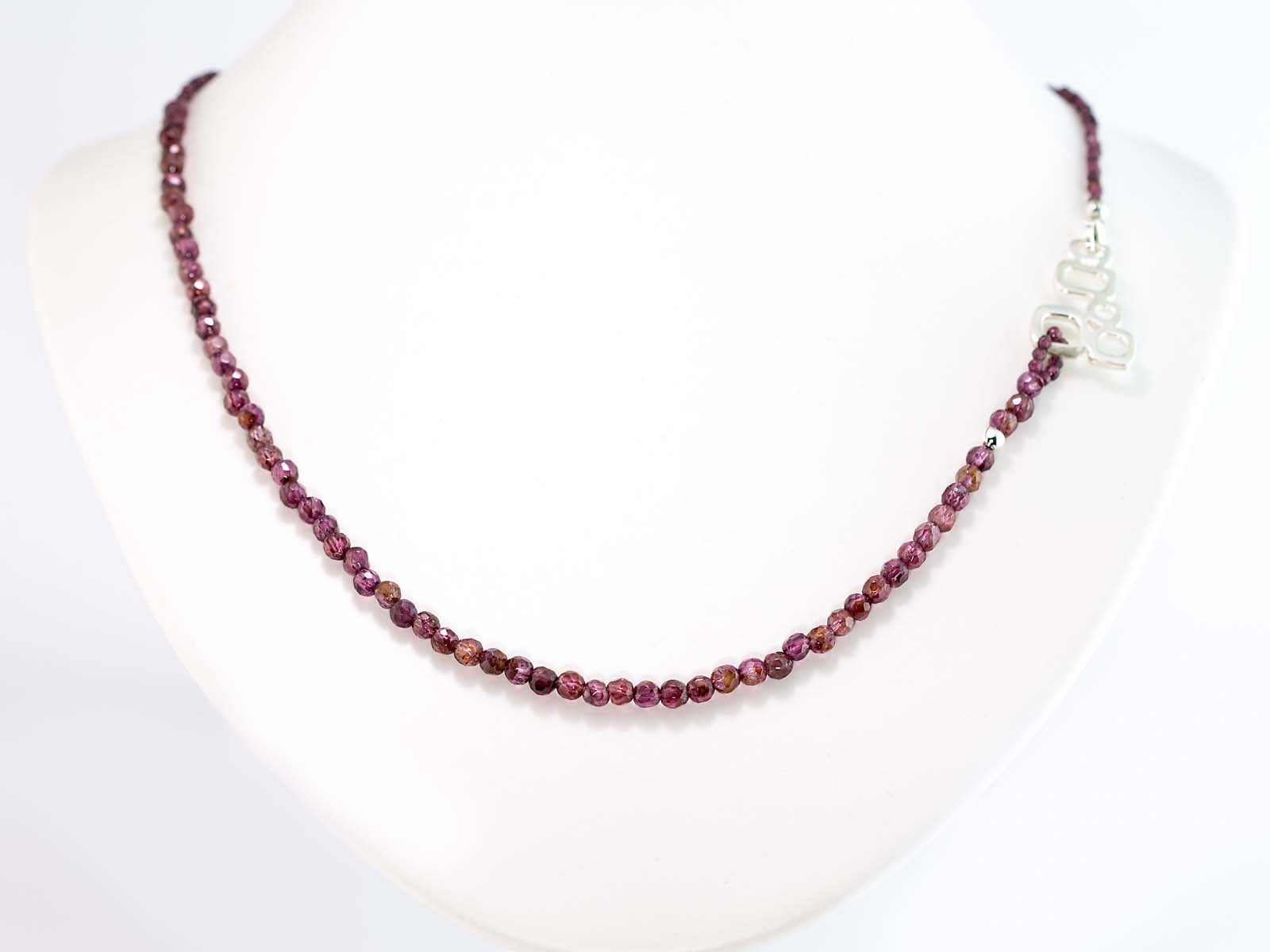 bead filled stone necklace modern a vialove tiny red clear simple on gold deep featuring chain garnet