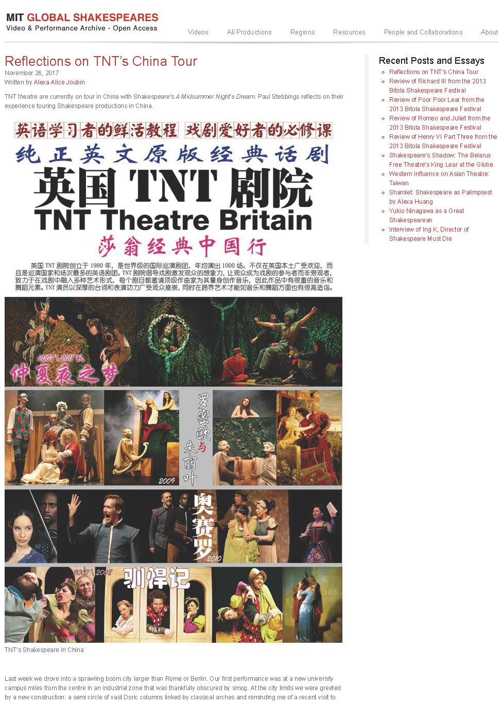 Reflections on TNT's China Tour « MIT Global Shakespeares_Seite_1