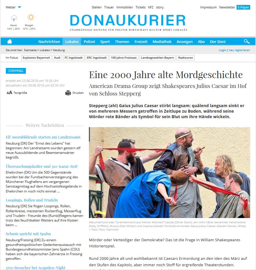 Donaukurier 2018 Julius Caesar