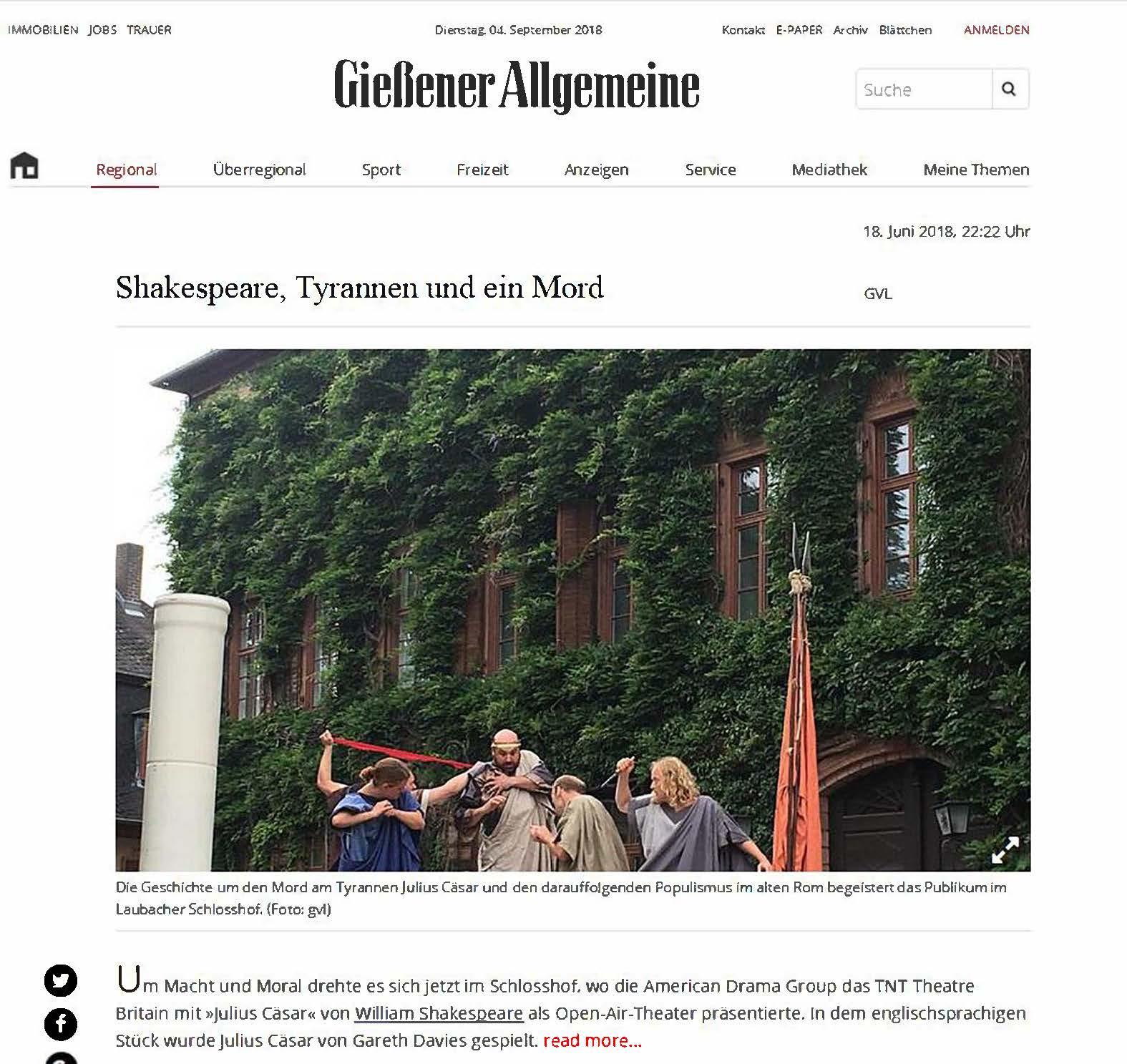 Gießener Allgemeine Zeitung 2018 Julius Ceasar
